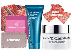 Germaine de Capuccini Timexpert White Life In Colours Summer Set - pleťový krém na pigmentové skvrny SPF20 50ml + hydratační pleťové sérum 30ml + šátek + kabelka