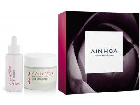 Ainhoa Collagen+ Christmas Set - zpevňující pleťový krém s kolagenem 50ml + zpevňující pleťové sérum 50ml + Hippi kyselina hyaluronová 30ml