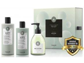 Maria Nila True Soft Set - hydratační šampon na suché vlasy 350ml + kondicionér na suché vlasy 300ml + tekuté mýdlo 300ml