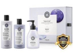 Maria Nila Sheer Silver Set - šampon na blond, šedé a stříbrné vlasy 350ml + kondicionér na blond, šedé a stříbrné vlasy 300ml + krém na ruce 300ml