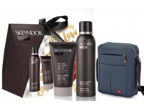 Skeyndor For Men Summer Set – hydratační zmatňující emulze pro smíšenou a mastnou pleť 50ml + gel na holení 150ml + pánská taška