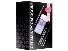 Germaine de Capuccini Make-up Love Set – černá voděodolná tužka na oči 1ks + černá objemová řasenka 8,2ml + dvoufázový odličovač na oči a rty 50ml