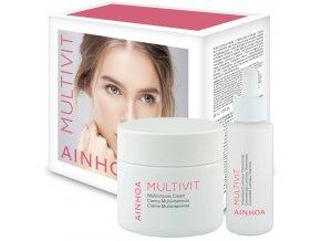 Ainhoa Multivit Set – multivitamínový krém pro normální a smíšenou pleť 50ml + rozjasňující pleťové sérum 50ml