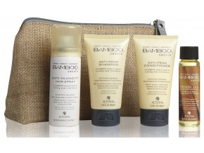 Alterna BAMBOO SMOOTH Anti-Frizz Travel Set - kondicionér 40ml + šampon 40ml + lak na vlasy 50ml + uhlazujicí olejíček 25ml