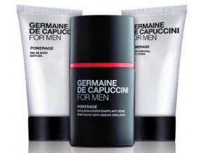 Germaine de Capuccini FOR MEN Powerage Set - pleťová emulze proti známkám stárnutí 50ml + sprchový gel 50ml + tělové mléko 50ml