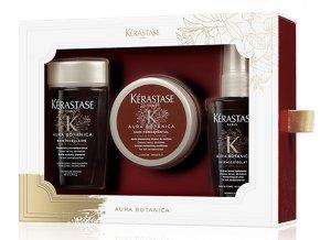 Kérastase Aura Botanica Christmas Discovery Sada - přírodní šampon pro všechny typy vlasů 80ml + hydratační kondicionér 75ml + olej na vlasy 50ml