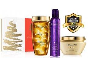 Kérastase Elixir Ultime Christmas Sada - zkrášlující šampon pro všechny typy vlasů 250ml + olejová maska na vlasy 200ml + objemový pudr na vlasy ve spreji 250ml