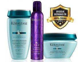Kérastase Résistance Force Architecte Set - obnovující šampon pro poškozené vlasy 250ml + obnovující maska na vlasy 200ml + objemový vlasový pudr ve spreji 250ml