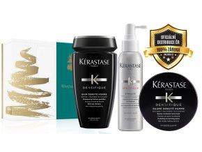 Kérastase Densifique Homme Christmas Sada - pánský šampon na vlasy postrádající hustotu 250ml + sprej s aminexilem proti padání vlasů 125ml + pánská stylingová pasta na vlasy 75ml