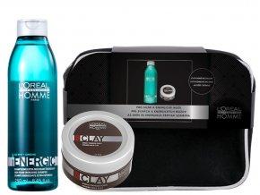 Loréal Professionnel Homme Christmas Sada - pánský šampon pro objem vlasů 250ml + pánská fixační pasta 50ml + neceser