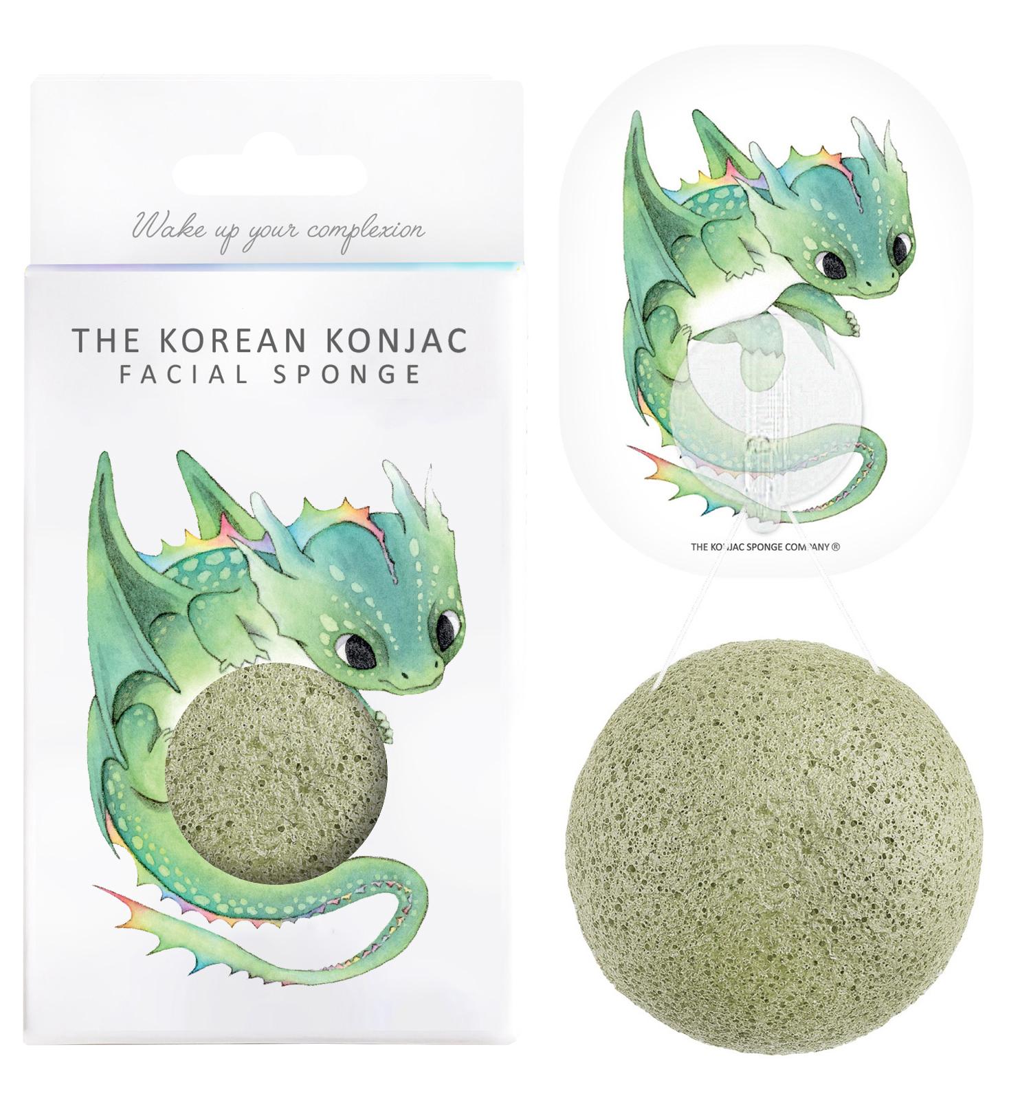 Konjac Sponge Mythical Beast Dragon and Hook - konjaková houba se zeleným jílem 1 ks