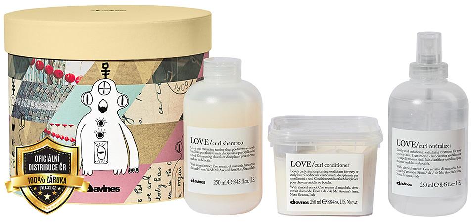 Davines Essential Love Curl Galactic šampon 250ml + kondicionér 250ml + sprej pro oživení vln 250ml dárková sada