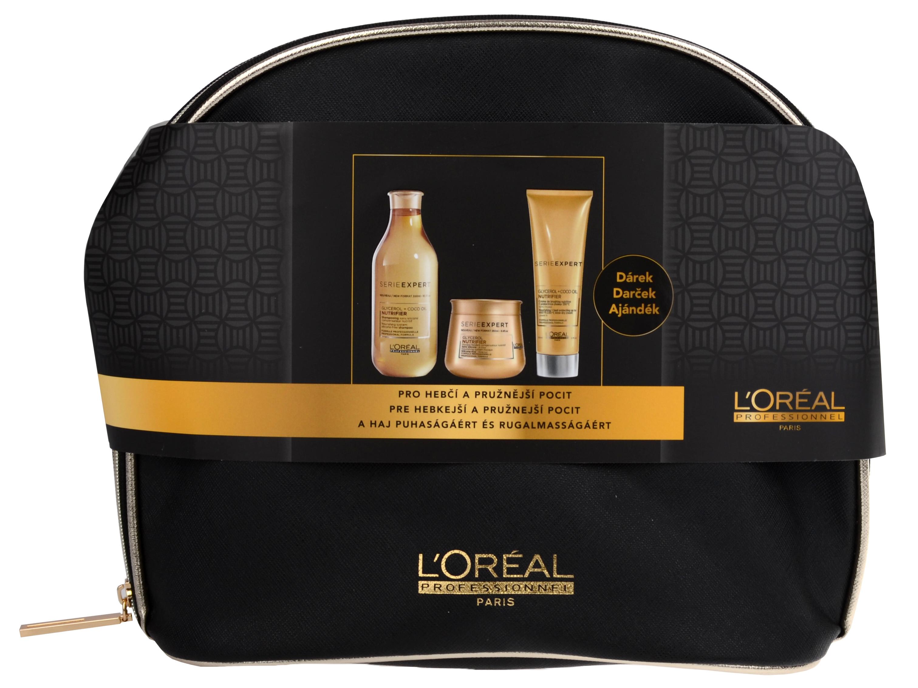 Loréal Professionnel Expert Nutrifier Set - šampon na suché vlasy 300ml + vyživující maska na suché vlasy 250ml + termoochranný krém 150ml + neceser