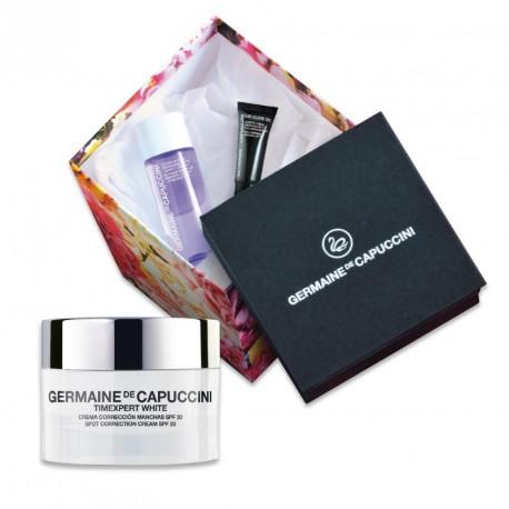 Germaine de Capuccini TIMEXPERT White Set - korekční krém SPF20 50ml + odličovací voda na oči a rty 50ml + regenerační olej na rty 5ml