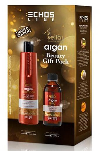 Echosline SELIAR Argan Beauty Gift Pack - fluid na vlasy s arganovým olejem 150ml + vyživující šampon pro poškozené vlasy 350ml