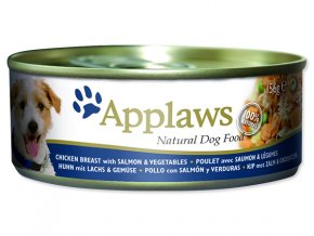 Konzerva APPLAWS Dog Chicken, Salmon & Rice-156g