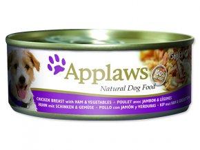 Konzerva APPLAWS Dog Chicken, Ham & Vegetables-156g