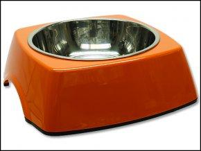 Miska DOG FANTASY nerezová čtvercová oranžová 22,5 cm-700ml