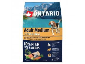 ONTARIO Dog Adult Medium Fish & Rice-2,25kg