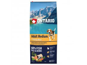 ONTARIO Dog Adult Medium Fish & Rice-12kg