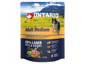 ONTARIO Dog Adult Medium Lamb & Rice-0,75kg
