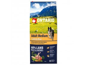 ONTARIO Dog Adult Medium Lamb & Rice-12kg