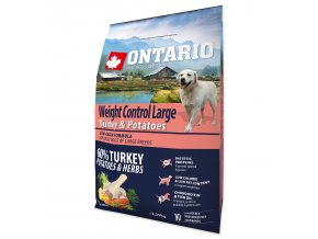 ONTARIO Dog Large Weight Control Turkey & Potatoes & Herbs-2,25kg