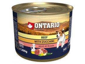 Konzerva ONTARIO Dog Mini Beef, Zucchini, Dandelion and Linseed Oil-200g