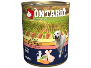 Konzerva ONTARIO Dog Chicken, Carrots and Salmon Oil-800g