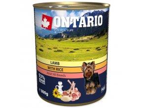 Konzerva ONTARIO Dog Lamb, Rice and Sunflower Oil-800g