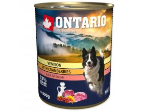 Konzerva ONTARIO Dog Venison, Cranberries and Safflower Oil-800g