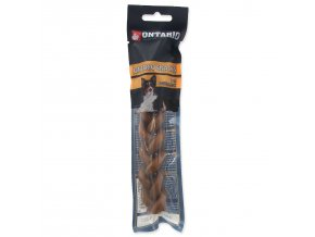 Snack ONTARIO Dog Rawhide Braided Stick 15 cm-1ks