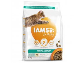 IAMS for Vitality Sterilized Cat Food with Fresh Chicken-1,5kg