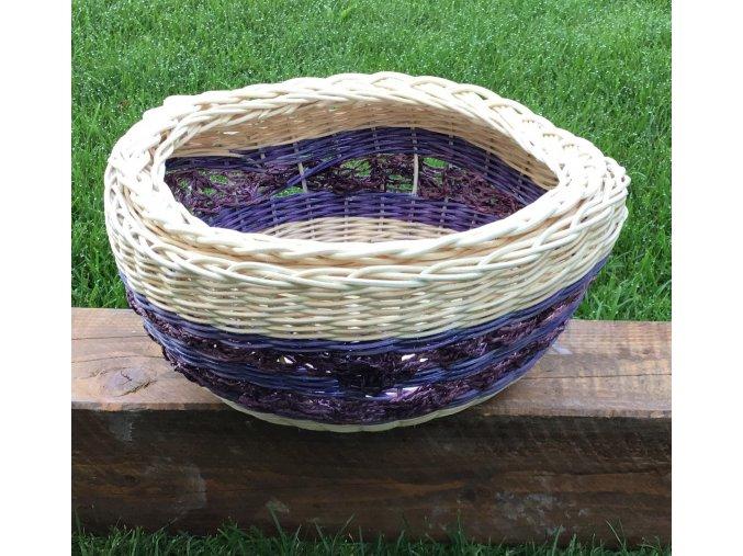 fialová šnúra na ozvláštnenie košíka