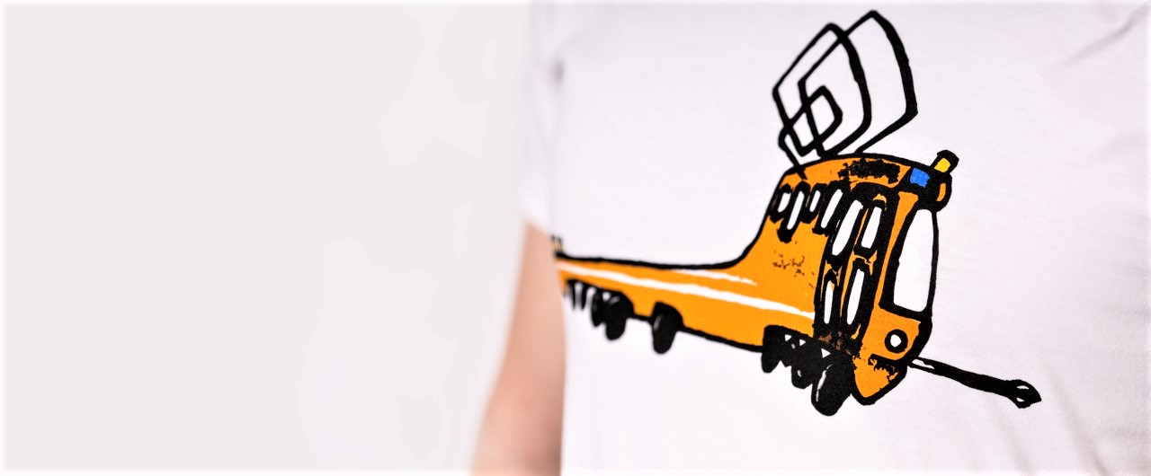 Pánské tričko s mazací tramvají