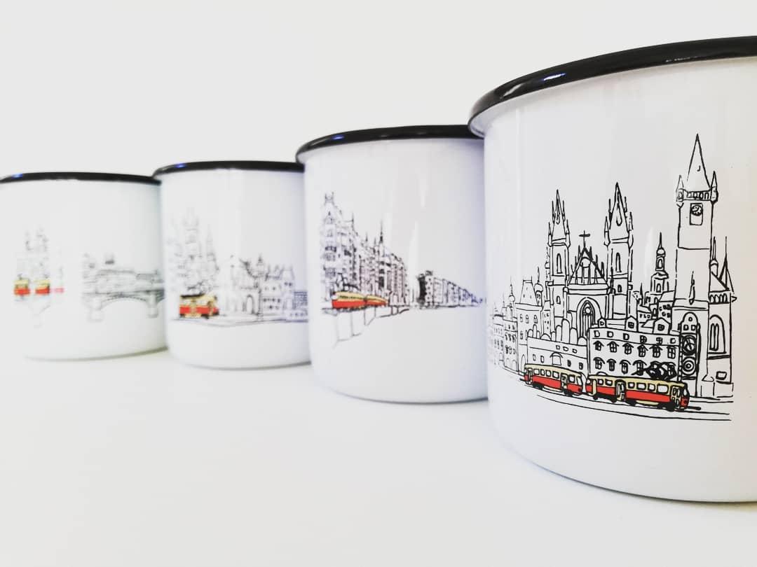 Smaltované hrnečky s motivy Prahy