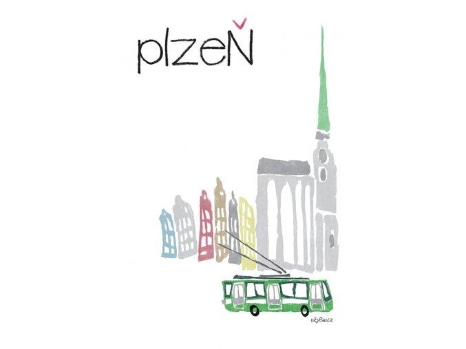 Plzen trolejbus s katedralou NA WEB