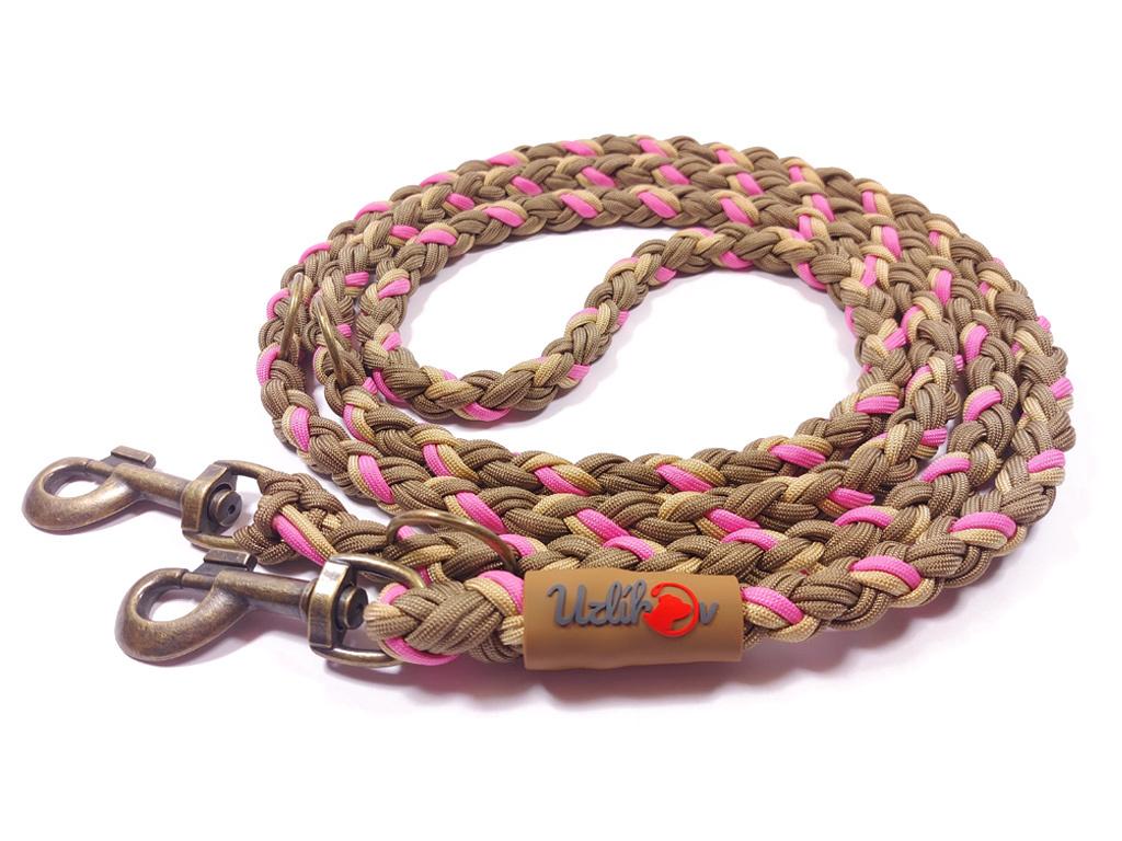 Vodítko paracord 220 cm přepínací KLASIK BROWN růžové  klasické staromosazné karabiny   pro psy do cca 40 kg