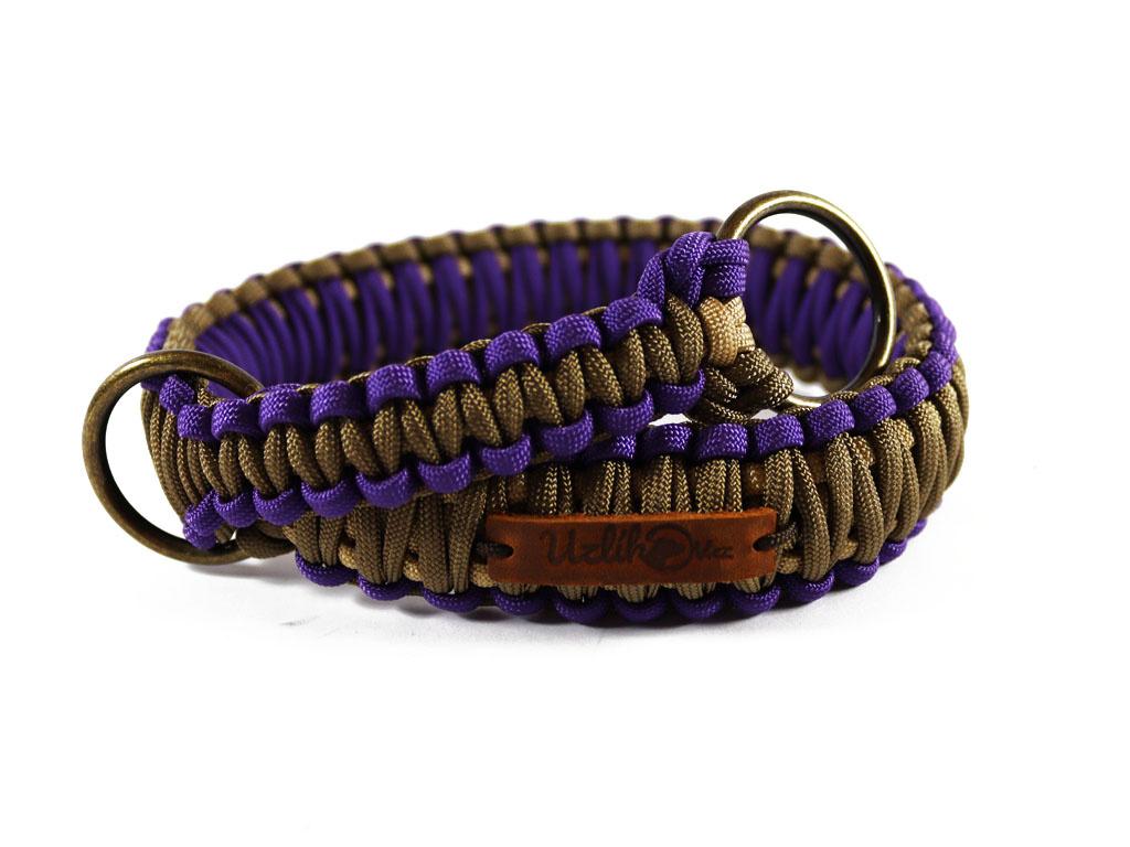Stahovací obojek paracord KLASIK BROWN fialový  šířka 3 nebo 4 cm | staromosazné kroužky