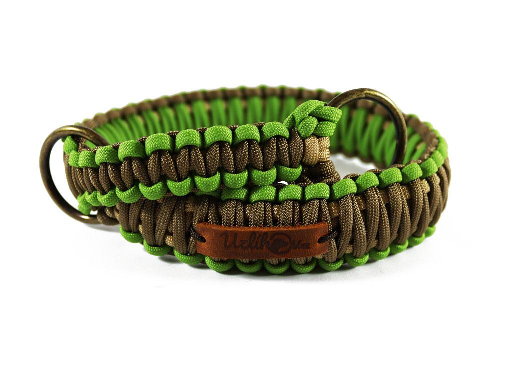 Stahovací obojek paracord KLASIK BROWN zelený  šířka 3 nebo 4 cm   staromosazné kroužky