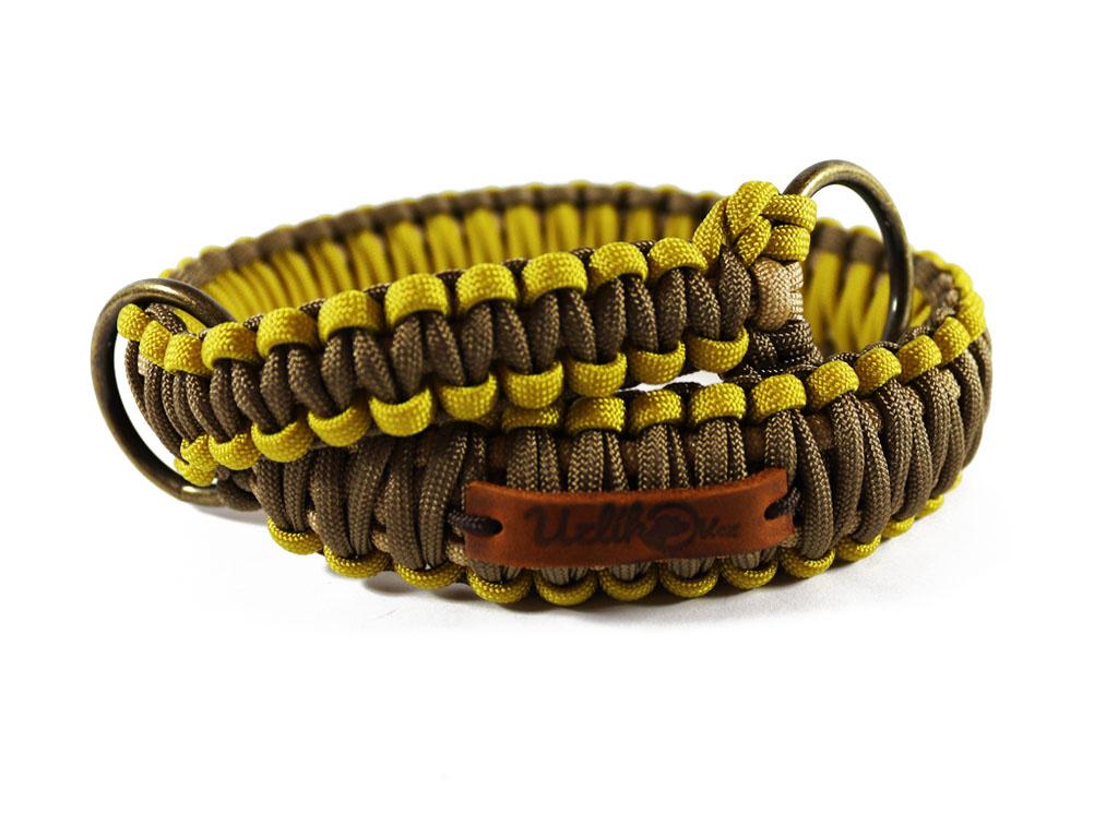 Stahovací obojek paracord KLASIK BROWN žlutý  šířka 3 nebo 4 cm | staromosazné kroužky