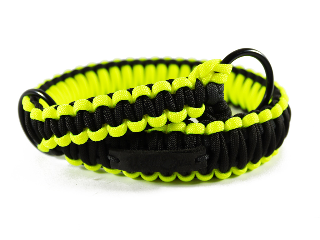 Stahovací obojek paracord KLASIK NEON BLACK žlutý  šířka 3 nebo 4 cm | černé kroužky