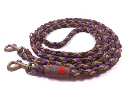 Vodítko paracord 220 cm přepínací KLASIK CHOCO fialové  klasické staromosazné karabiny | pro psy do cca 40 kg