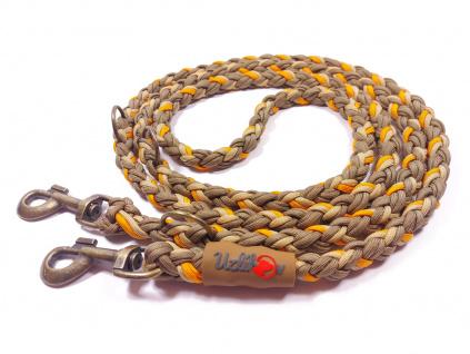Vodítko paracord 220 cm přepínací KLASIK BROWN oranžové  klasické staromosazné karabiny | pro psy do cca 40 kg