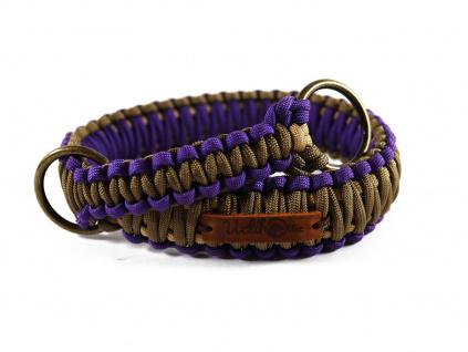 Stahovací obojek paracord KLASIK BROWN fialový  šířka 3 nebo 4 cm   staromosazné kroužky
