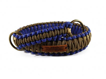 Stahovací obojek paracord KLASIK BROWN modrý  šířka 3 nebo 4 cm | staromosazné kroužky