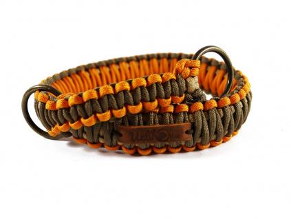 Stahovací obojek paracord KLASIK BROWN oranžový  šířka 3 nebo 4 cm | staromosazné kroužky