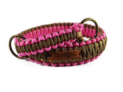 Stahovací obojek paracord KLASIK BROWN růžový  šířka 3 nebo 4 cm   staromosazné kroužky