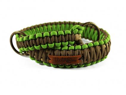 Stahovací obojek paracord KLASIK BROWN zelený  šířka 3 nebo 4 cm | staromosazné kroužky