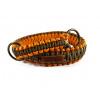 Stahovací obojek paracord KLASIK BROWN oranžový  šířka 3 nebo 4 cm   staromosazné kroužky